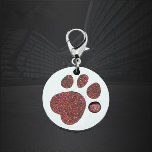 Custom Round Paw Dog Pet ID Tags  Cat Tag with QR Code
