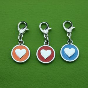 Custom Zinc Alloy Pet ID Tags Peach Heart Shape Hang Decoration for Dog or Cat QR Code