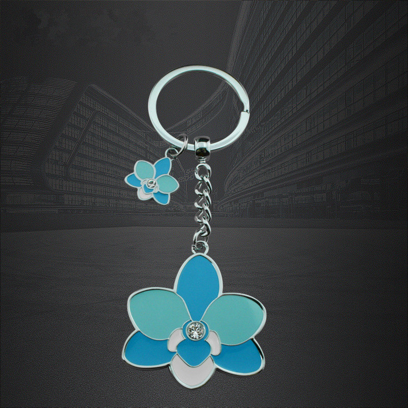 Manufacturer Customized Zinc-Alloy Flower Shape Epoxy Key Ring Key Chains